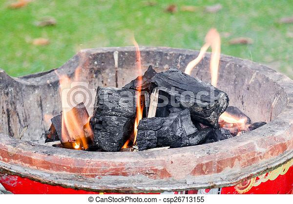 Burning Charcoal - csp26713155