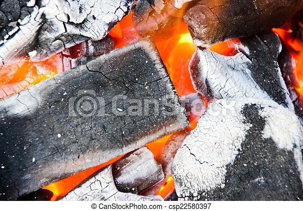 Burning charcoal - csp22580397