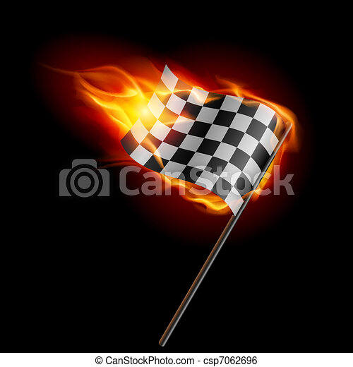 Burning checkered racing flag - csp7062696