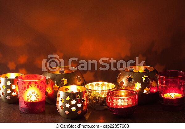 Christmas Lanterns.Burning Christmas Lanterns And Decoration Lights Background