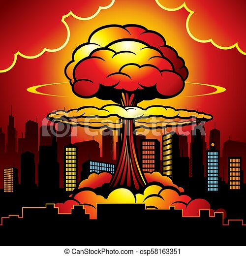 Burning city with nuclear explosion of atomic bomb. Cartoon vector illustration - csp58163351