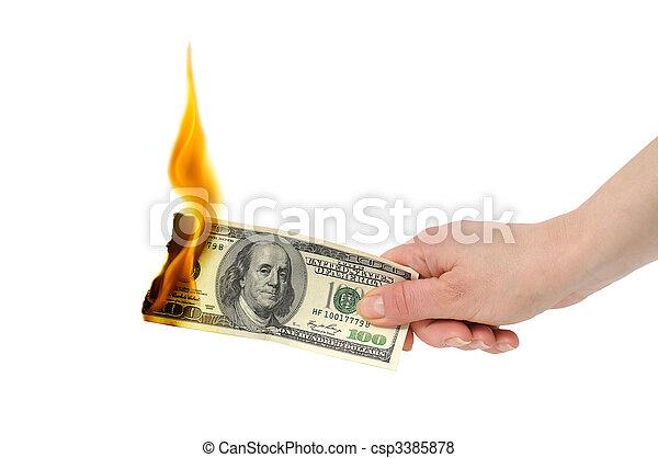 burning dollar - csp3385878