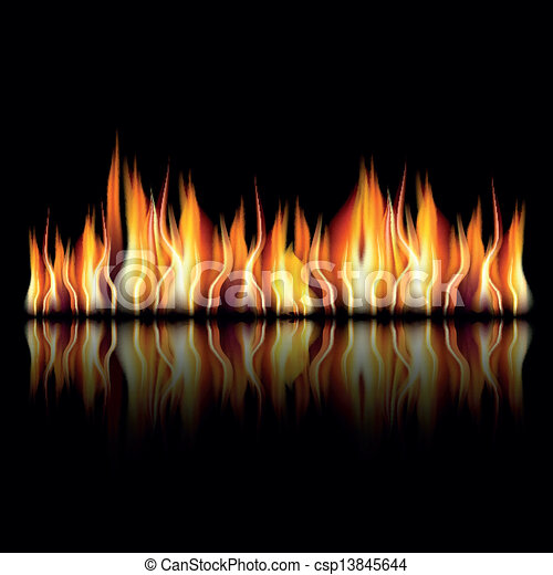 Burning fire flame on black background - csp13845644