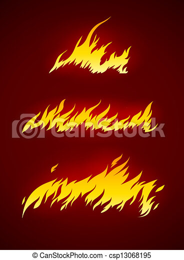 burning flame of fire vector silhouette - csp13068195