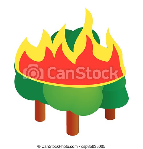 Burning forest trees icon, isometric 3d style - csp35835005