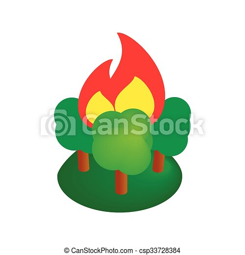 Burning forest trees isometric 3d icon - csp33728384