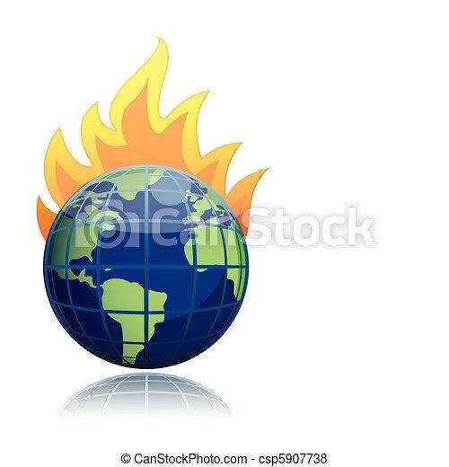 burning globe  - csp5907738
