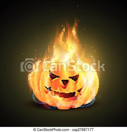 burning halloween pumpkin - csp27687177