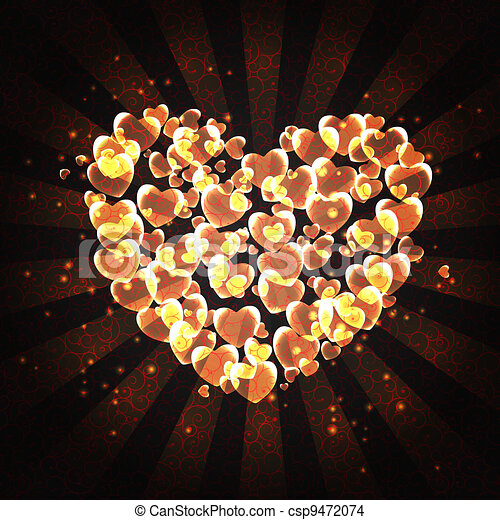 burning heart with sparkles on a dark background - csp9472074