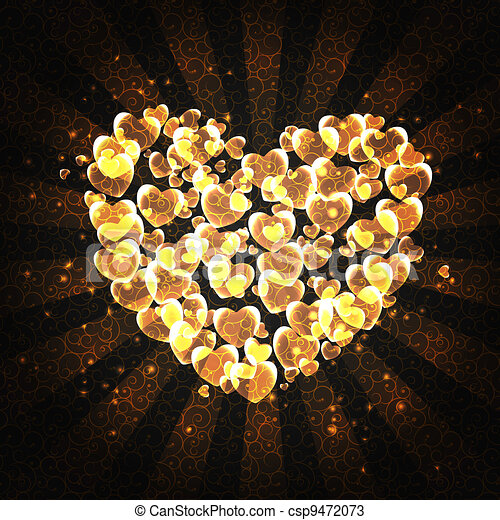 burning heart with sparkles on a dark background - csp9472073
