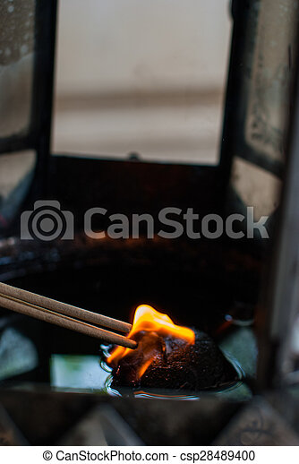 Burning incense from the oil lamps - csp28489400