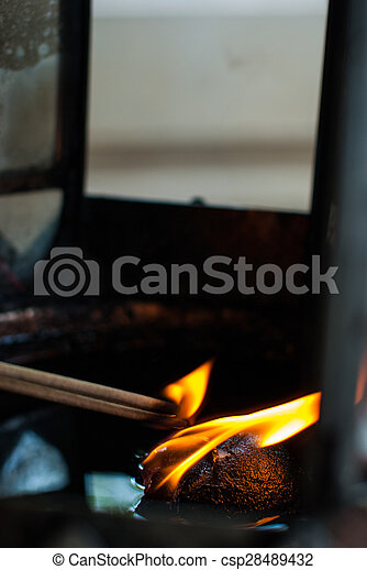 Burning incense from the oil lamps - csp28489432