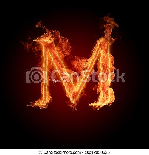 Burning Letter M - csp12050635