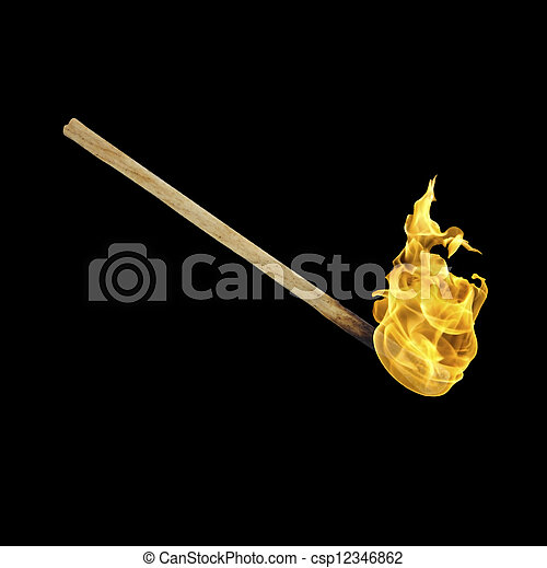 Burning match on a black background - csp12346862