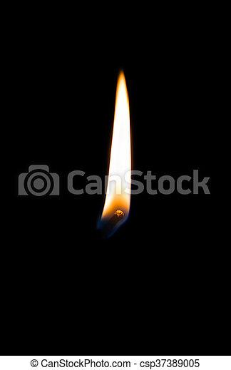 Burning match on a black background - csp37389005