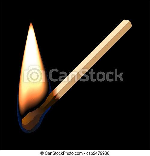 Burning match on black background - csp2479936