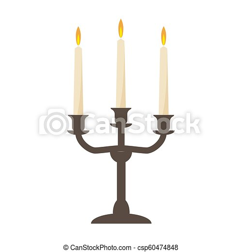 burning old candle vintage vector candlestick. Isolated On White Background - csp60474848