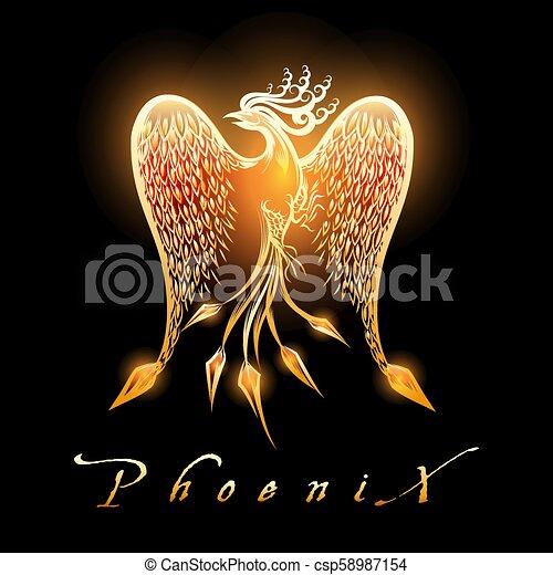 Burning Phoenix Bird on Black Background - csp58987154