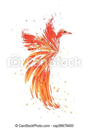 Burning Phoenix on white - csp39679400