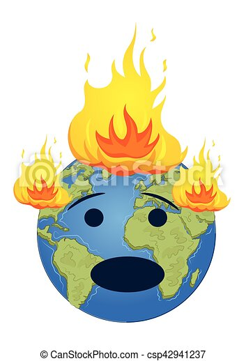 burning planet earth global warming concept over white vectors rh canstockphoto com clipart pictures of global warming clipart global warming