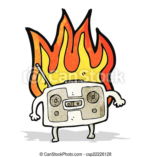 burning radio cassette player cartoon rh canstockphoto ie