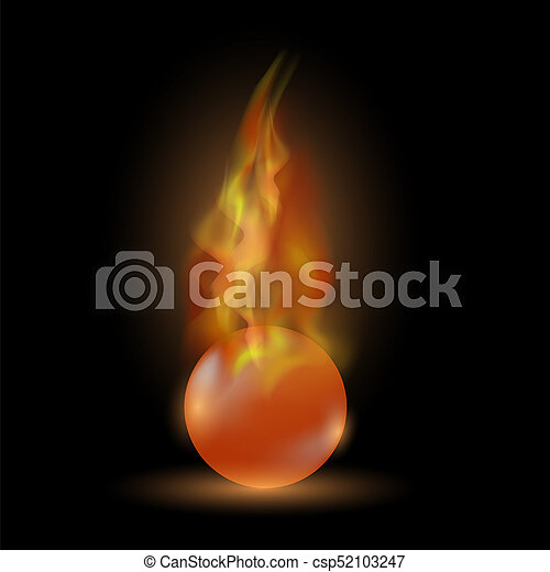 Burning Red Sphere. Ball on Fire Flame - csp52103247