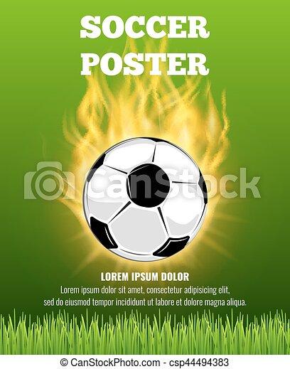 Burning Soccer Ball Vector Poster Template