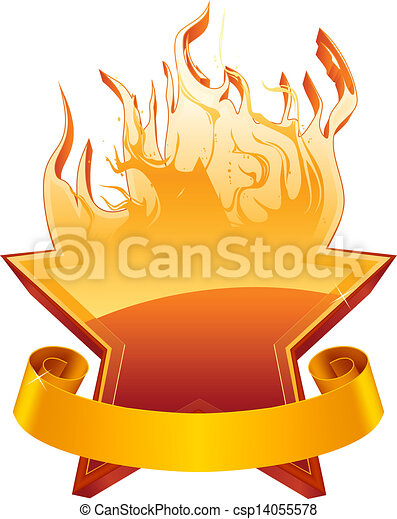 Burning star emblem, vector - csp14055578