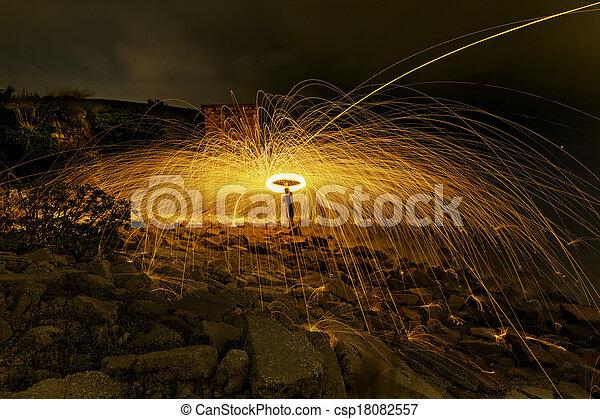 Burning steel wool fireworks  - csp18082557