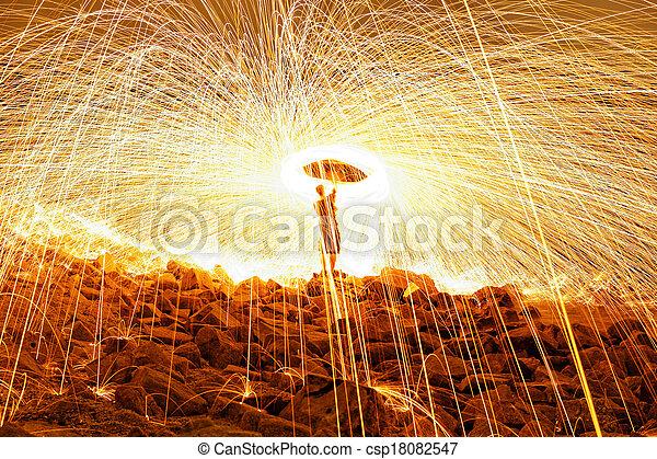 Burning steel wool fireworks  - csp18082547