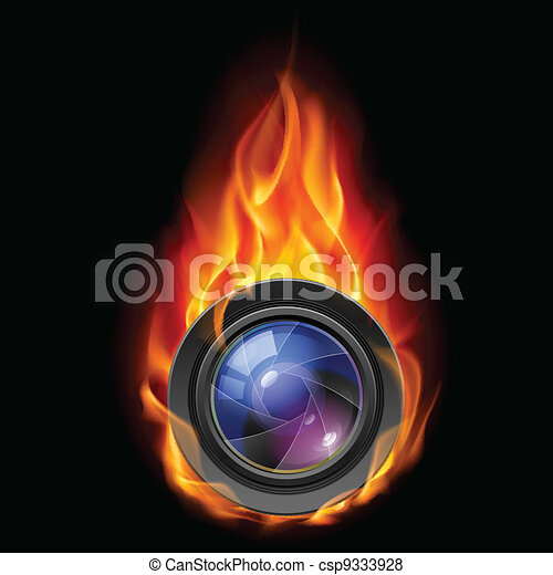 Burning the camera lens - csp9333928