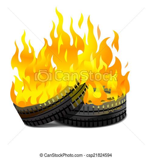 Burning tires - csp21824594