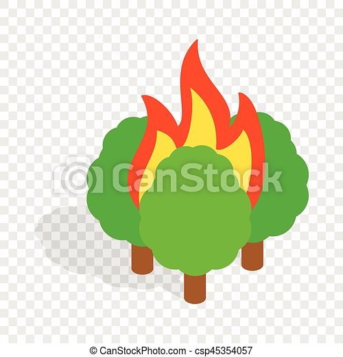 Burning trees isometric icon - csp45354057
