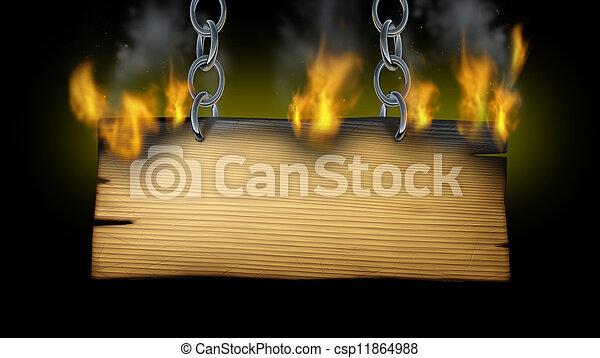 Burning Wooden Sign - csp11864988