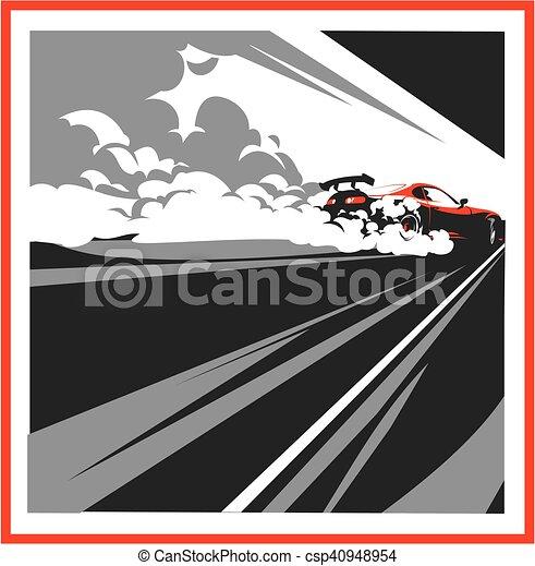 Burnout car, Japanese drift sport, Street racing - csp40948954