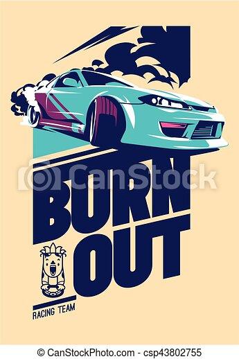 Burnout car, Japanese drift sport, Street racing - csp43802755