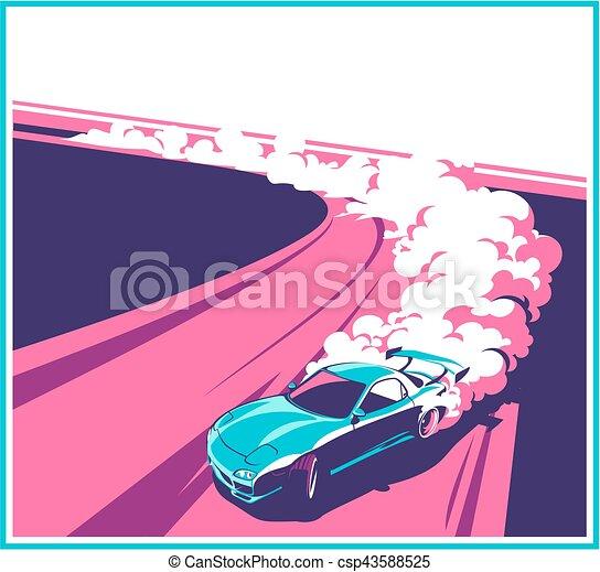 Burnout car, Japanese drift sport, Street racing - csp43588525