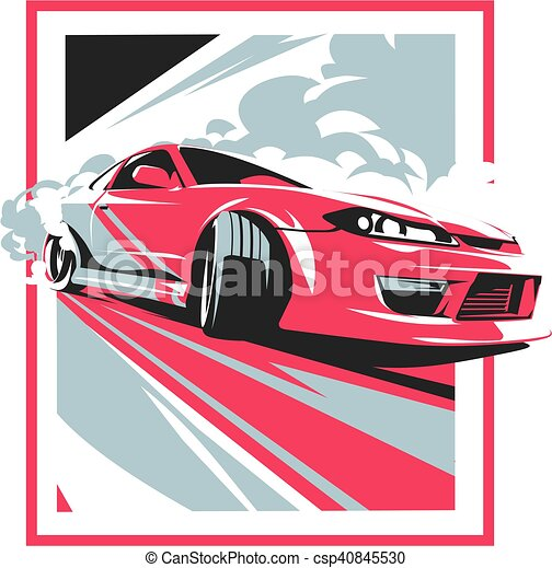 Burnout car, Japanese drift sport, JDM, - csp40845530