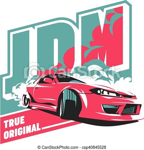 Burnout car, Japanese drift sport, JDM, - csp40845528