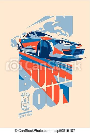 Burnout car, Japanese drift sport, Street racing - csp50815107