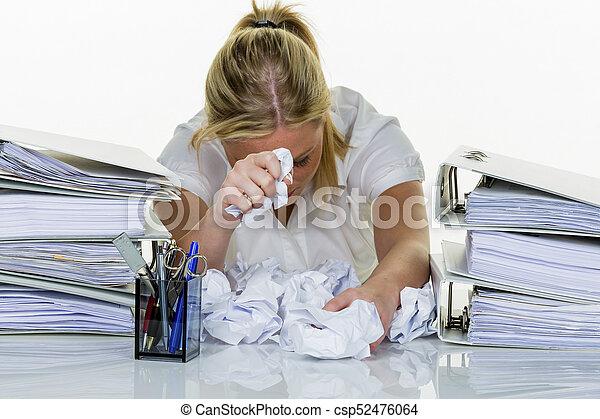 burnout, femme, bureau - csp52476064