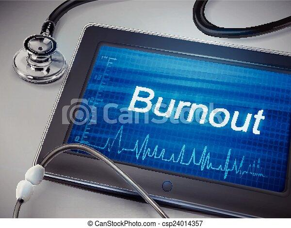 burnout word display on tablet  - csp24014357