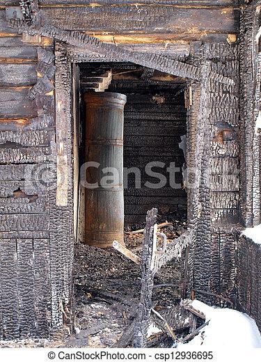 Burnt house interior - csp12936695
