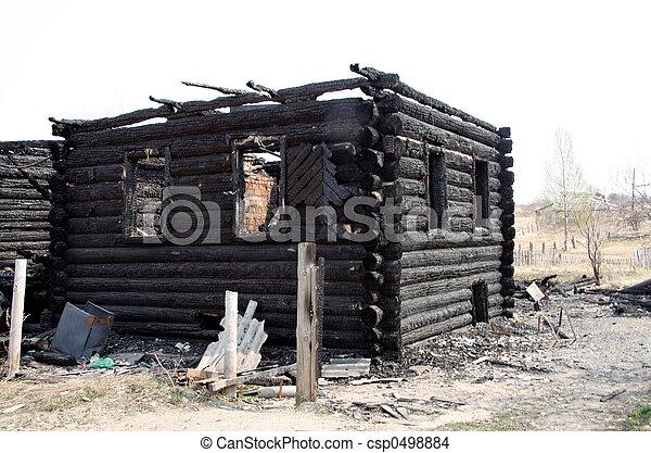 burnt house - csp0498884