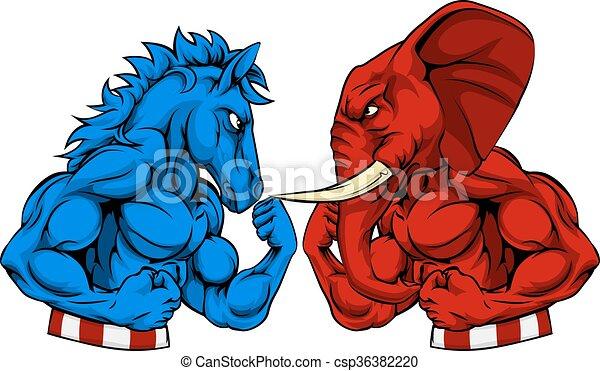 burro, conceito, americano, vs, eleição, elefante, política - csp36382220