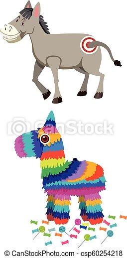 Burro y piñata - csp60254218