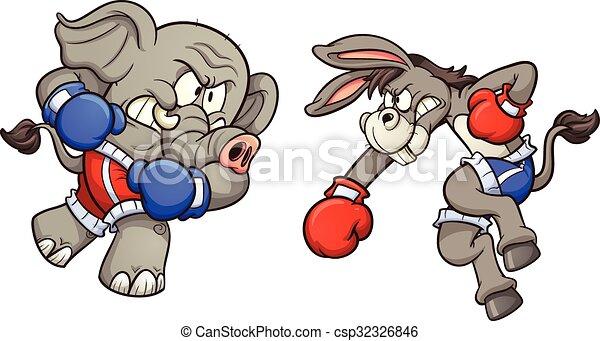 Burro contra elefante - csp32326846