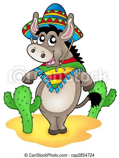 Dibujo de burro mexicano cactus  Mexican burro con cactus