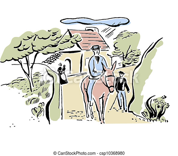 Ilustracin de archivo de burro vendimia aldea italiano dibujo