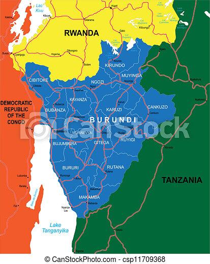 Burundi map Highly detailed vector map of burundi with clip art